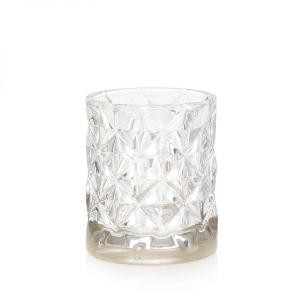 Langham Faceted Glass Votivhalter mit Metallband