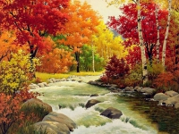 5D Diamond Painting Bild Herbst Fluss