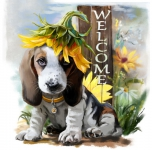 5D Diamond Painting Bild Welcome Dog